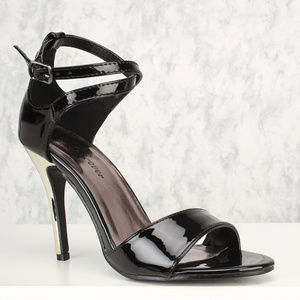 New Black Cut Out Strappy Heels